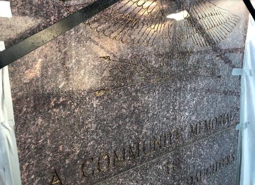 Cleveland Heights World War II Memorial - before new gold leaf-1